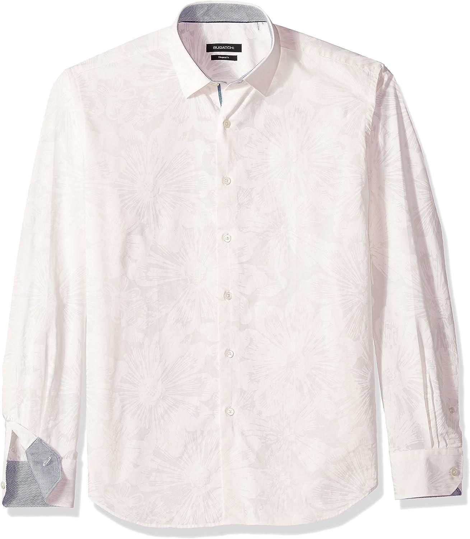 Bugatchi Mens Slim Fit Patterned Jacquard Spread Collar Shirt