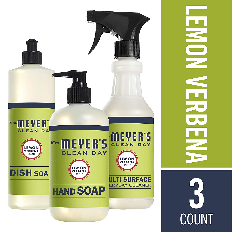 Mrs. Meyers Clean Day Lemon Verbena Dish Soap (16 fl oz), Hand Soap (12.5 fl oz), Multi-Surface Everyday Cleaner (16 fl oz)