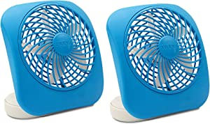 O2COOL Treva 5-Inch Portable Desktop Air Circulation Battery Fan | 2 Cooling Speeds, Compact Folding & Tilt Design, Light Blue - 2 Units