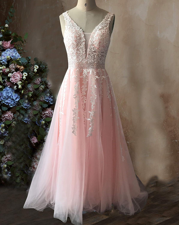 56a96a09d ABaowedding Women's Wedding Dress for Bride Lace Applique Evening Dress V  Neck Straps Ball Gowns