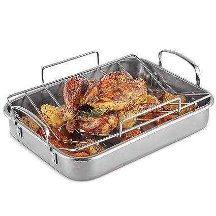 VonShef Bandeja con Rejilla de Horno de Acero Inoxidable - Ideal para pollo, pavo, carne y vegetales