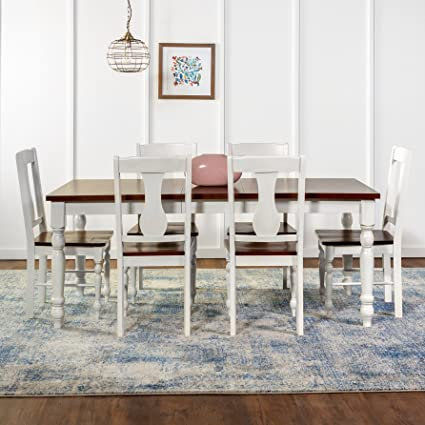 WE Furniture 7 Piece Two Toned Solid Wood Dining Set, Bourbon/White