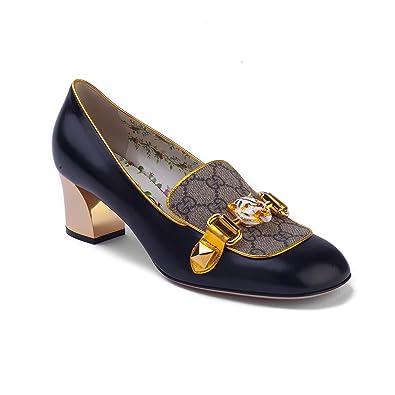 Amazon Com Gucci Women S Leather Gg Supreme Mid Heel Pump Shoes