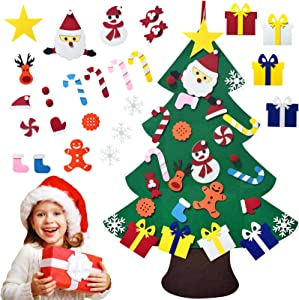 EAXER DIY Felt, Christmas & New Year Handmade Hanging Decorations Detachable Ornaments for Door Wall Windows, Home Decorations Gifts Kit for Kids (Christmas Tree)