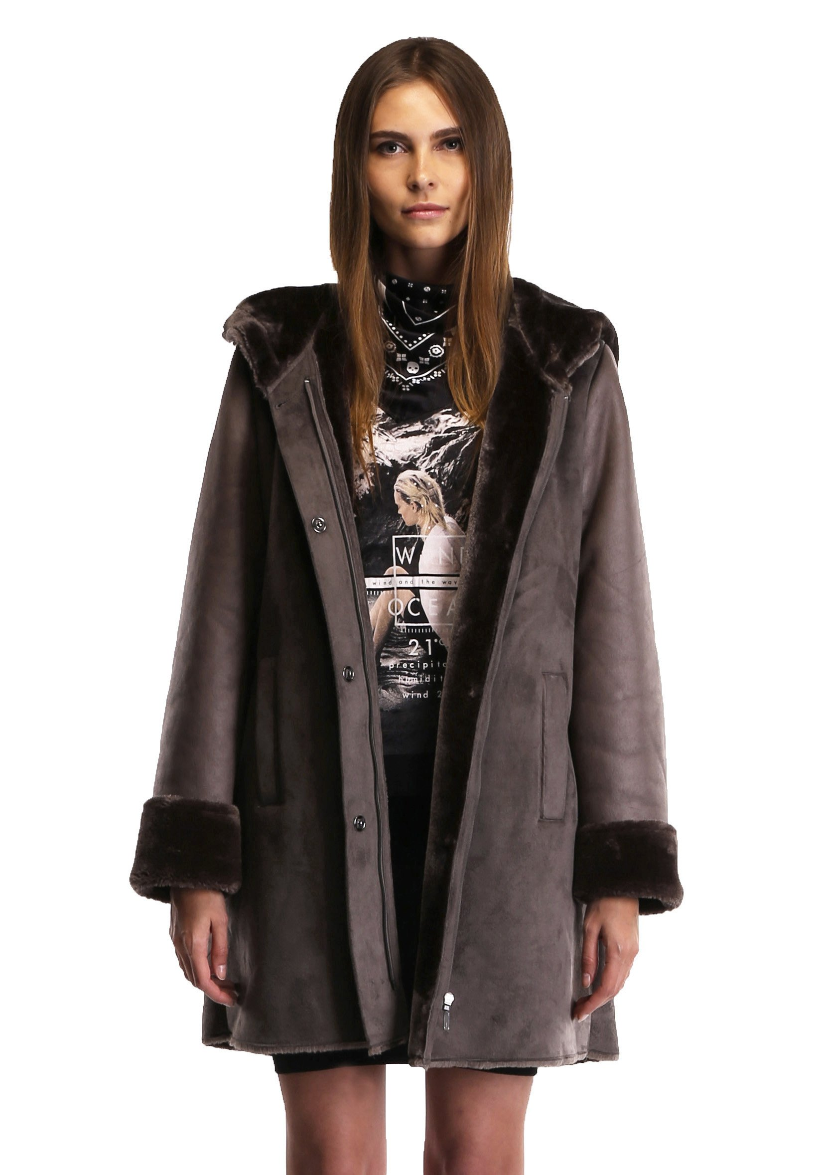 Enjoy Fur Women's 2016 New Style Dark Bronze Faux Leather Coat with Hood (Medium)