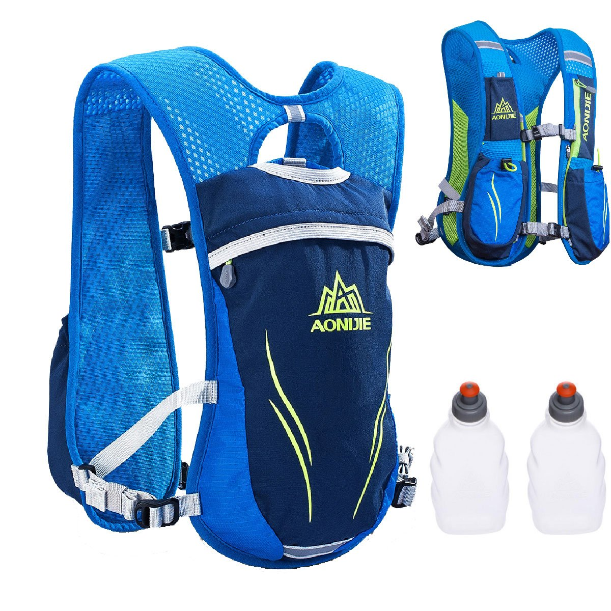 TRIWONDER Hydration Pack Backpack 5.5L Outdoors Mochilas Trail Marathoner Running Race Hydration Vest (Blue - with 2 Water Bottles)