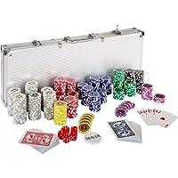 Maxstore - Set Da Poker Con 500 Chips Di 12 G (Cuore In Metallo), 2 Mazzi Da Poker, Custodia Per Carte Da Poker In Alluminio, 5 Dadi, 1 Pedina Per Il Dealer, Fiches E Gettoni