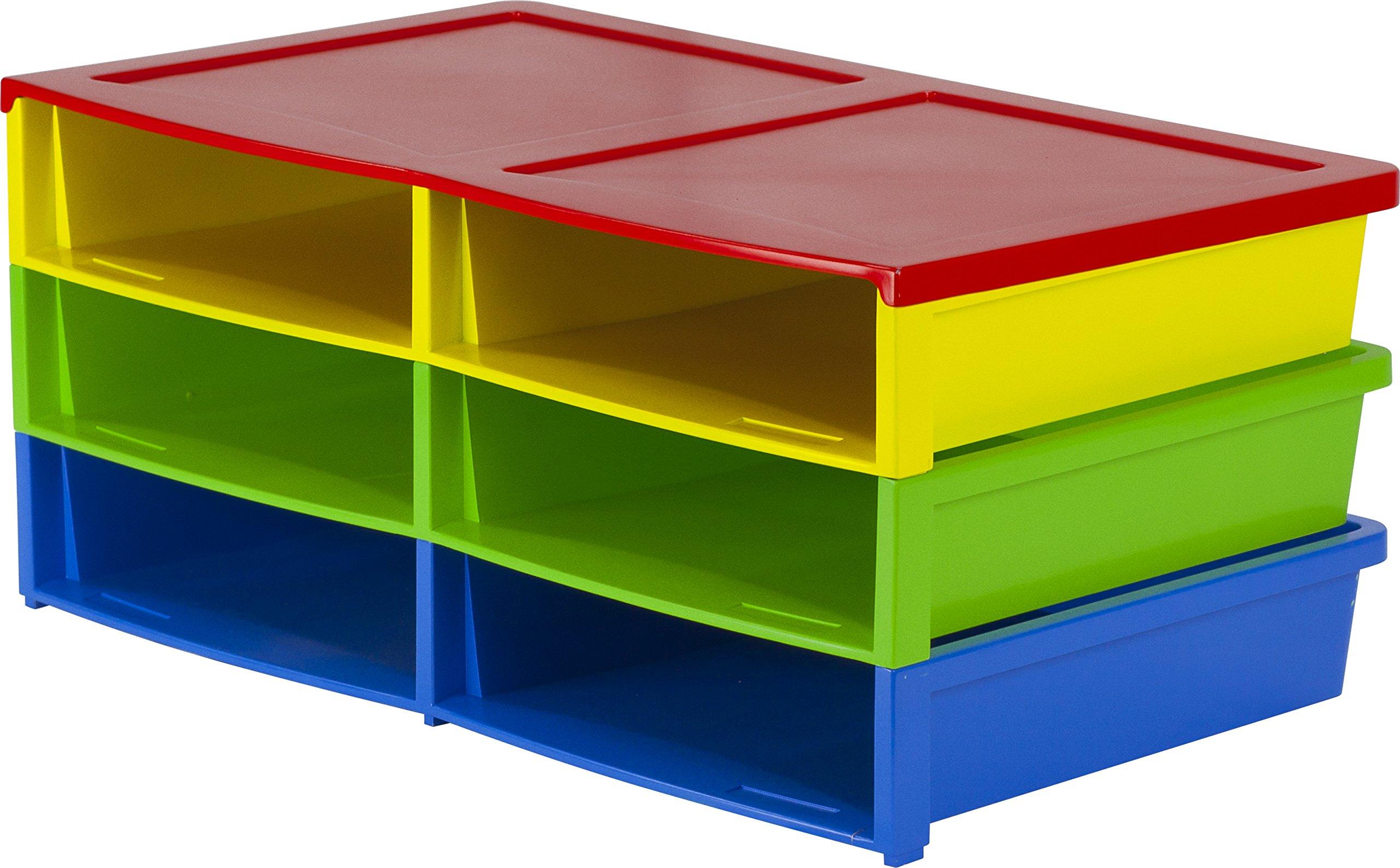 Storex Quick Stack Literature Organizer, 6 Compartments, 20.5 x 13.6 x 8.7'', Multicolored (61656E01C)