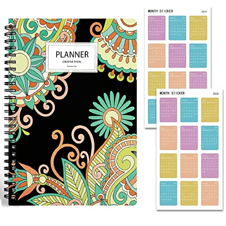 Animoeco 2019 Planner with Stickers - Academic Daily, Weekly, Monthly and Yearly Agenda.Thick Paper to Achieve Your Goals & Improve Productivity, ...