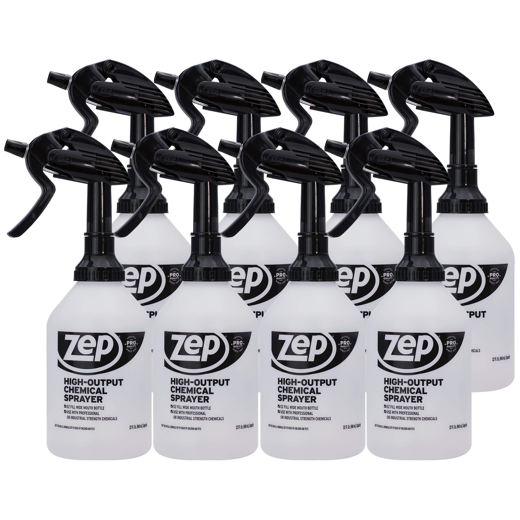 Zep High Output Chemical Pro Sprayer 32 Ounce (Case of 8) - Wide Mouth for Easy Pouring by Zep