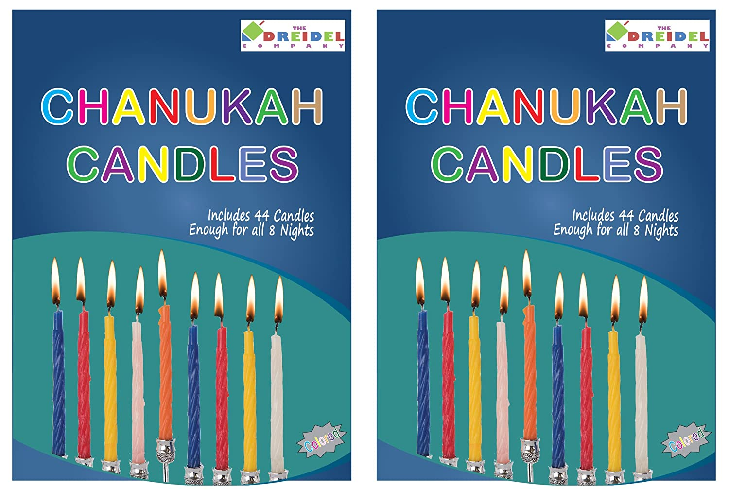 Menorah Candles Chanukah Candles 44 Colorful Hanukkah Candles For All 8 Nights of Chanukah (2-Pack) The Dreidel Company