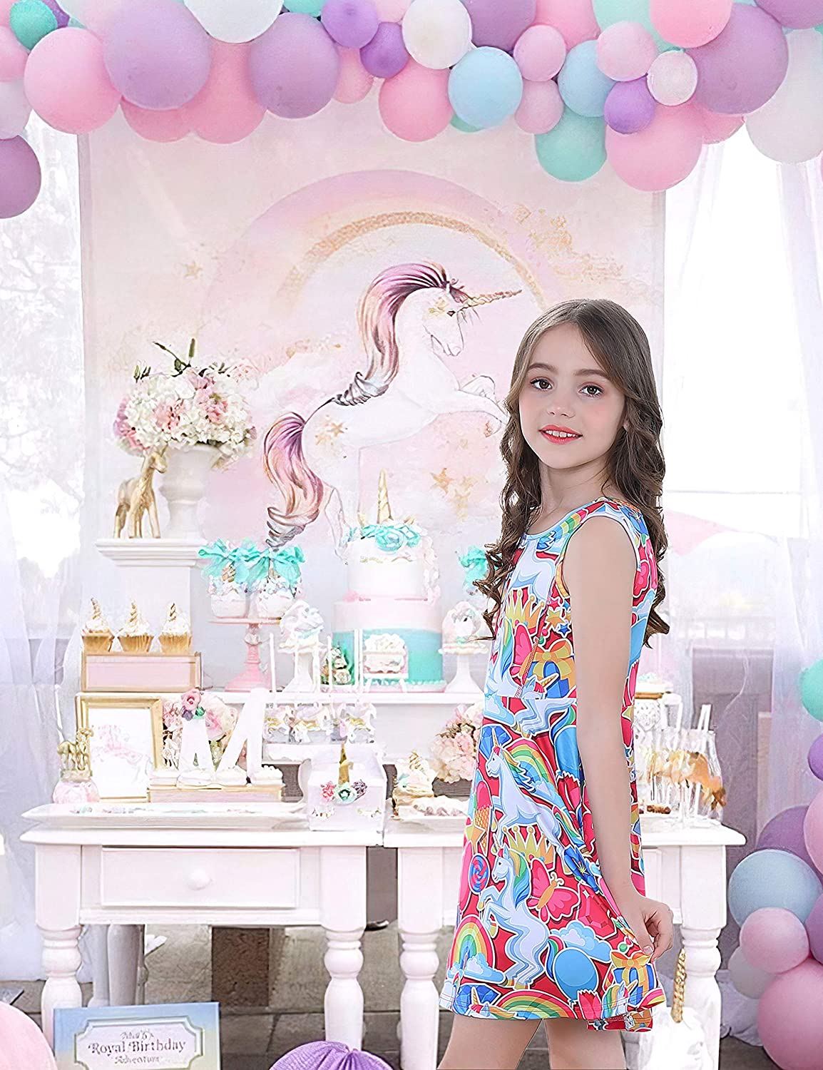 Girls Unicorn Dress Casual Rainbow Sundress Daily Wearing Birthday Party Dress 3-13 Years