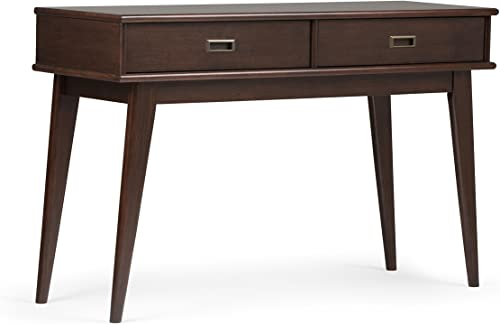 Simpli Home Draper SOLID WOOD 48 inch Wide Mid Century Modern Console Sofa Entryway Table in Medium Auburn Brown with Storage, 2 Drawers , for the Living Room, Entryway and Bedroom