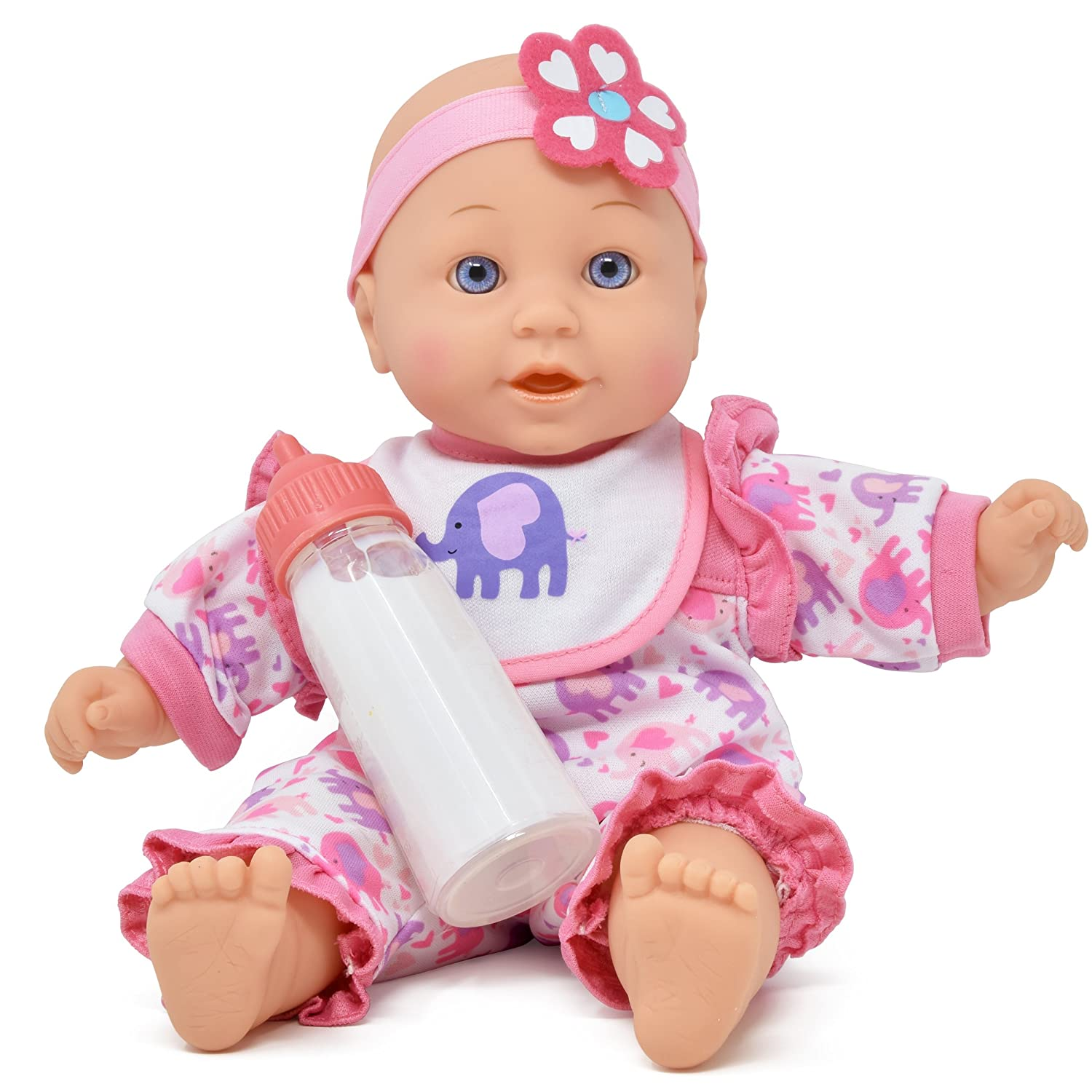 Baby Doll for Kid - 12 inch Soft Body Baby Doll, Magic Bottle and Bib Included