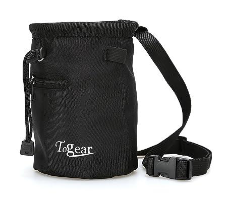 Rock - Bolsa de magnesio para escalada, W/Cierre de Cordón, cinturón y bolsillo con cremallera Negro negro: Amazon.es: Deportes y aire libre