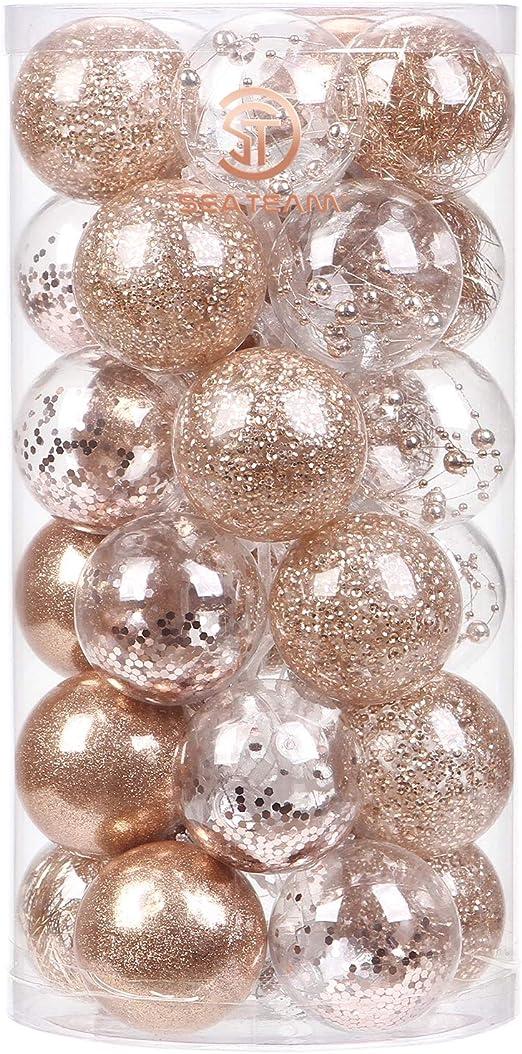 Sea Team 60mm 2 36 Delicate Painting Glittering Shatterproof Christmas Ball Ornaments Decorative Hanging Christmas Ornaments Baubles Set For Xmas Tree Rose Gold 24 Counts Seasonal Decor Ornaments