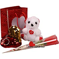 Jaipuri Haat Valentine Gifts loving taddy along with shining Red, Yellow reversible love cushion and Red rose ( 13 @10 CM)