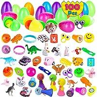 100 Pcs Prefilled Easter Eggs with Novelty Toys Premium for Easter Theme Party Favor, Easter Eggs Hunt, Easter Basket…