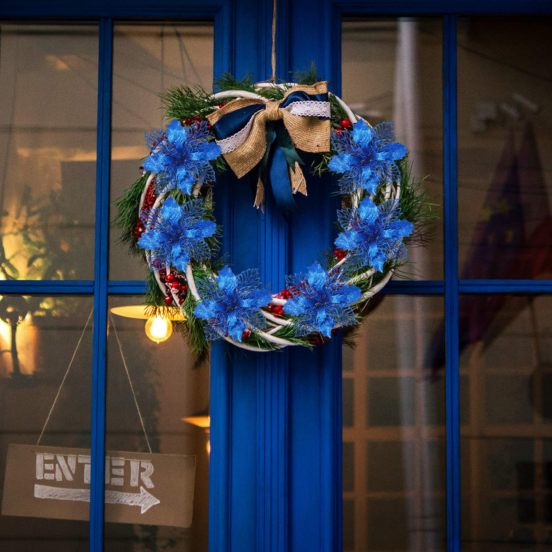 Willbond 20 Flores de /Árbol de Navidad Poinsettia Artificial Brillantes Adornos de /Árbol de Navidad para Decoraci/ón de Boda Navidad Festival Frente de Puerta Azul