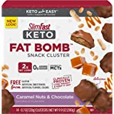 SlimFast Keto Fat Bomb Snacks - Chocolate Caramel Nut Clusters - 20g - 14 Count Box - Pantry Friendly