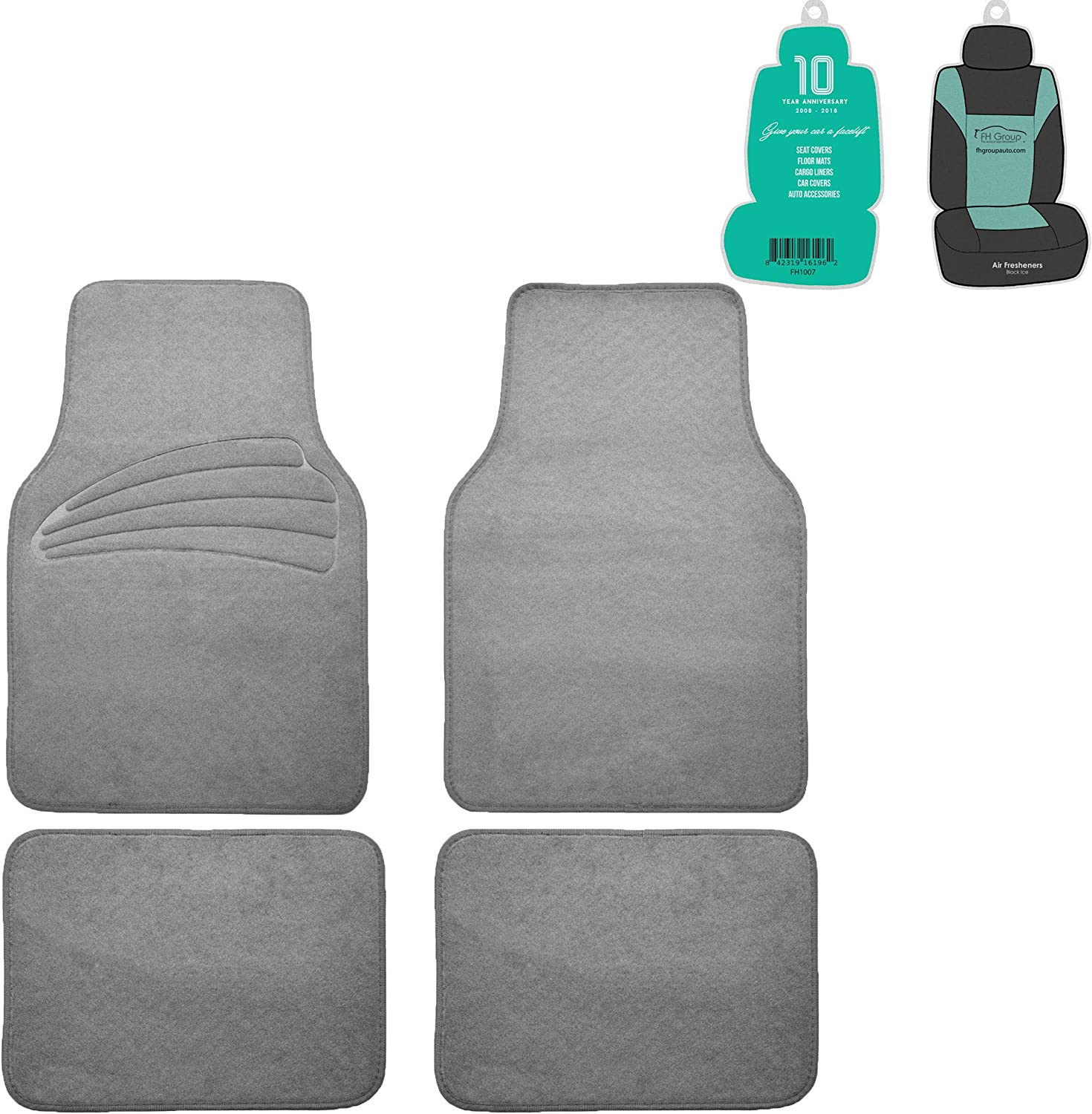 FH Group F14401 Premium Carpet Floor Mats with Heel Pad, Gray Color w. Free Air Freshener- Fit Most Car, Truck, SUV, or Van