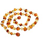 Amberbeata Amber Jewelry Baltic Amber Teething Necklace for Mom Lemon Cognac Two Tone
