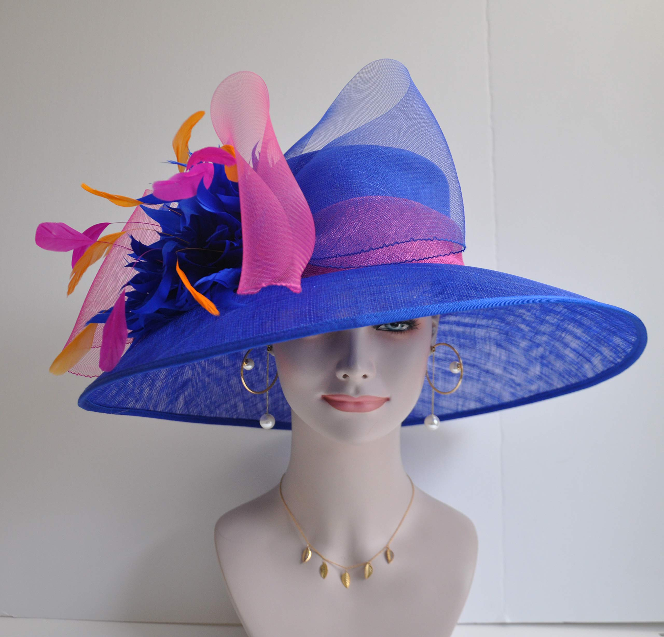 Wide Brim Kentucky Derby Sinamay hat with Feather Flowers Royal Blue with hot Pink and Orange by ray&daniel (Image #3)