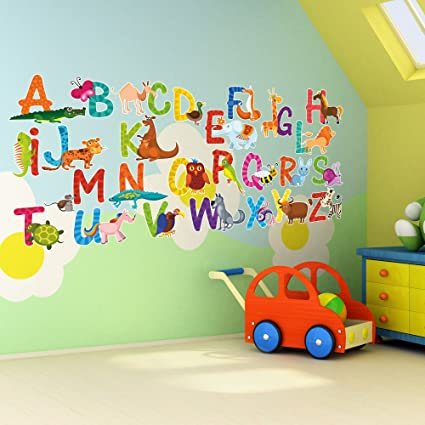 26 Individual Alphabet Animals Self Adhesive Wall Art Stickers   Large 14cm  Letter