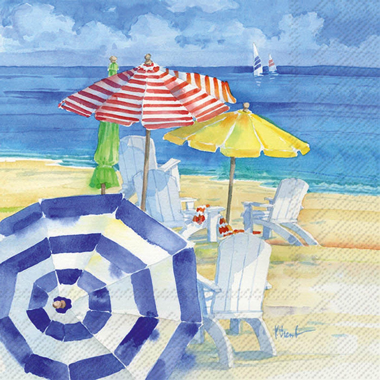 理想的なホーム範囲20カウント水彩ビーチ用紙Luncheon Napkins B01CP2MRU6