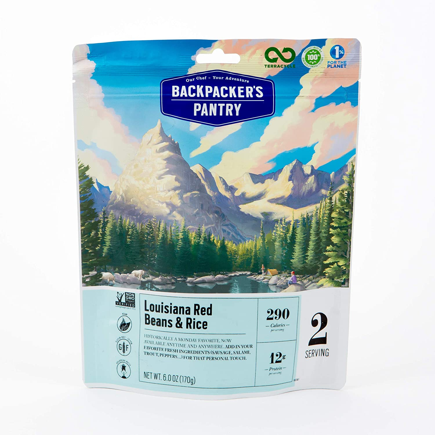 Backpacker's Pantry Louisiana Red Beans & Rice, 2 Servings Per Pouch, Freeze Dried Food, 12 Grams of Protein, Vegan, Gluten Free