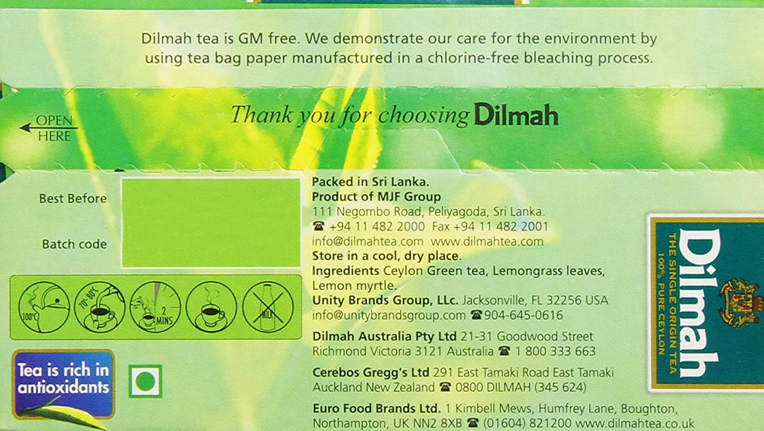 New zealand brands of tea - Amazon Com Dilmah Tea Ceylon Green Tea With Lemongrass 20 Count Foil Wrapped Tea Bags Pack Of 6 Grocery Gourmet Food