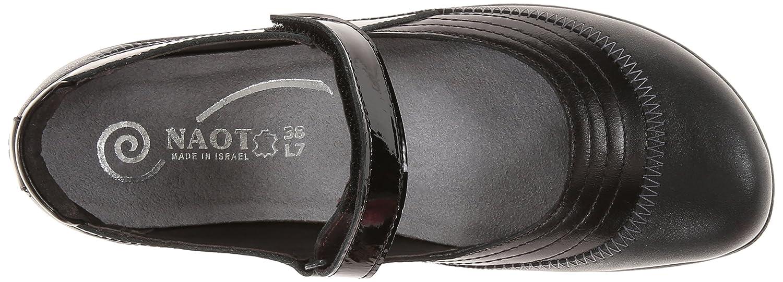 NAOT Footwear Women's Kirei Mary Jane Flat B00BUTVFZY 39 M Black EU|Shiny Black Combo / Black M Madras 095848