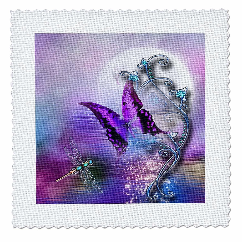 3dRose Dream Essence Designs-Bible Quotes - マシューの聖書の聖書の言葉 鳥と蝶のメドウ - キルト正方形。 10 x 10