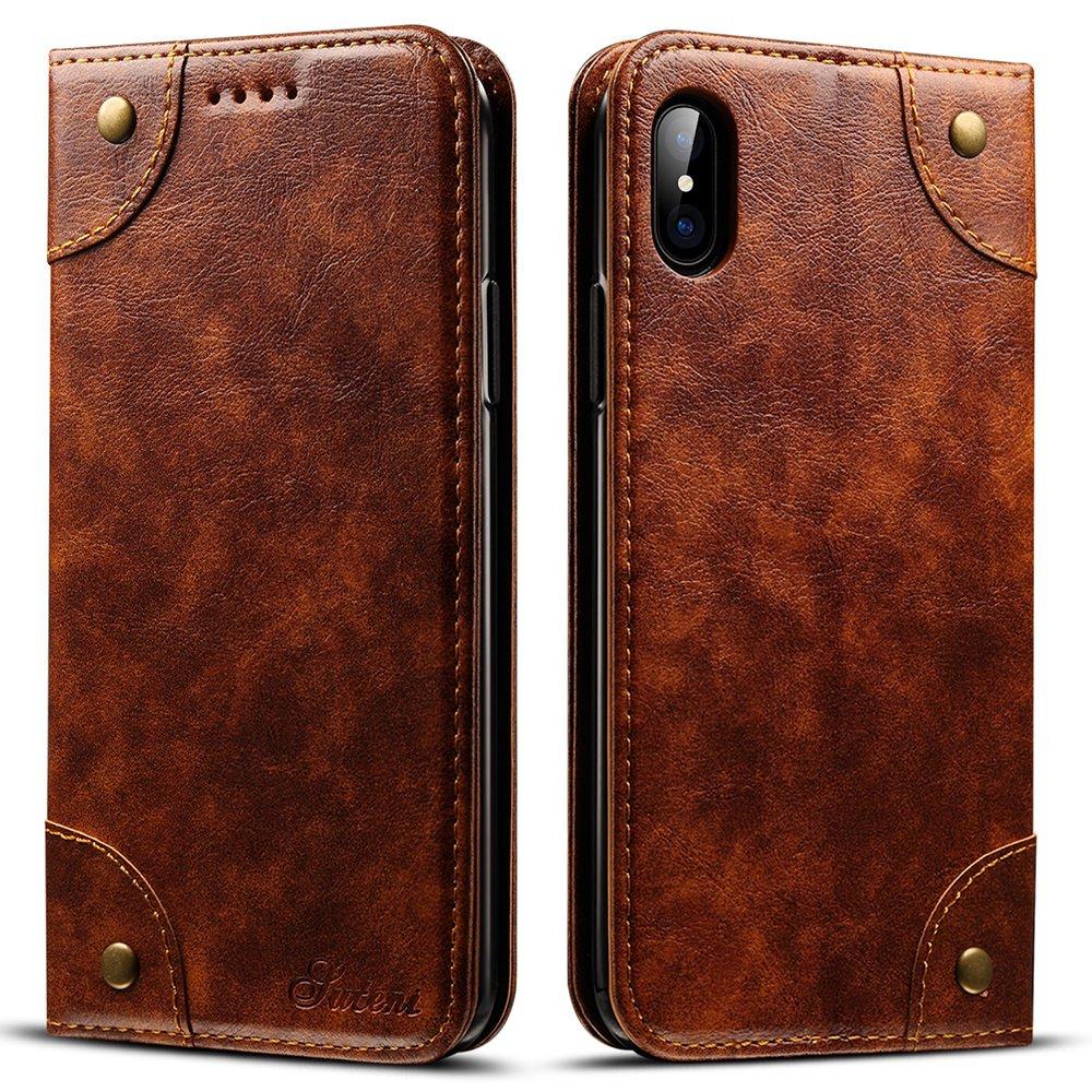 iPhone XSのためのSUTENIレザーケースiPhone Xケース、PUレザー[キックスタンド]付きクレジットカードスロットホルダー付きPUレザー[Magnetic Closure]折りたたみ式財布ケースホルダーiPhone/XS用の保護カバー   B078G5KNK6
