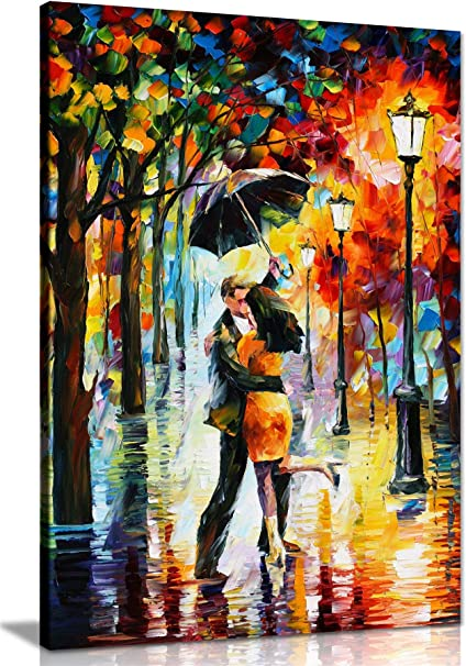 Dance Under The Rain By Leonid Afremov Canvas Wall Art Picture Print For Home Decor 24x16 Amazon Co Uk Kitchen Home