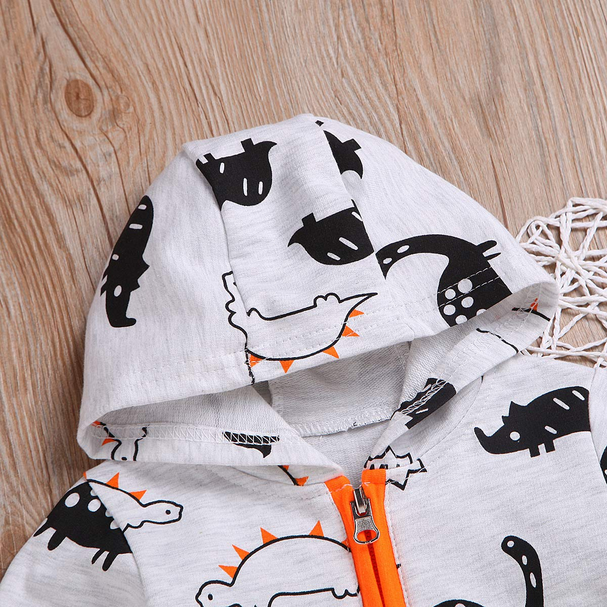 YOUNGER TREE Kids Baby Boys Newborn Jumpsuit Hoodie Dinosaur Cartoon Print Romper Outfit Long Sleeve Bodysuit Clothes