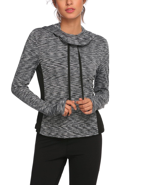 Tilloe Women Long Sleeve Cowl Patchwork Running Shirt with Thumb Holes