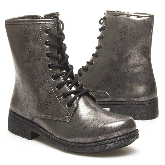 Qupid Womens MISSILE04 Closed Round Toe Military Combat Lace Up High Top Low Heel Flat Mid Calf Ankle Bootie Boot Shoes Pewter Grey Metallic PU Leather 8 B (M) US