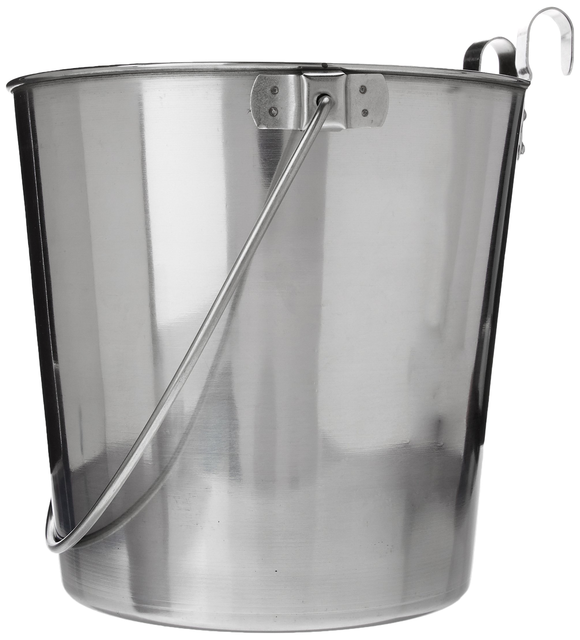 QT Dog Flat Sided Stainless Steel Bucket with Hooks, 6 Quart by QT Dog (Image #1)