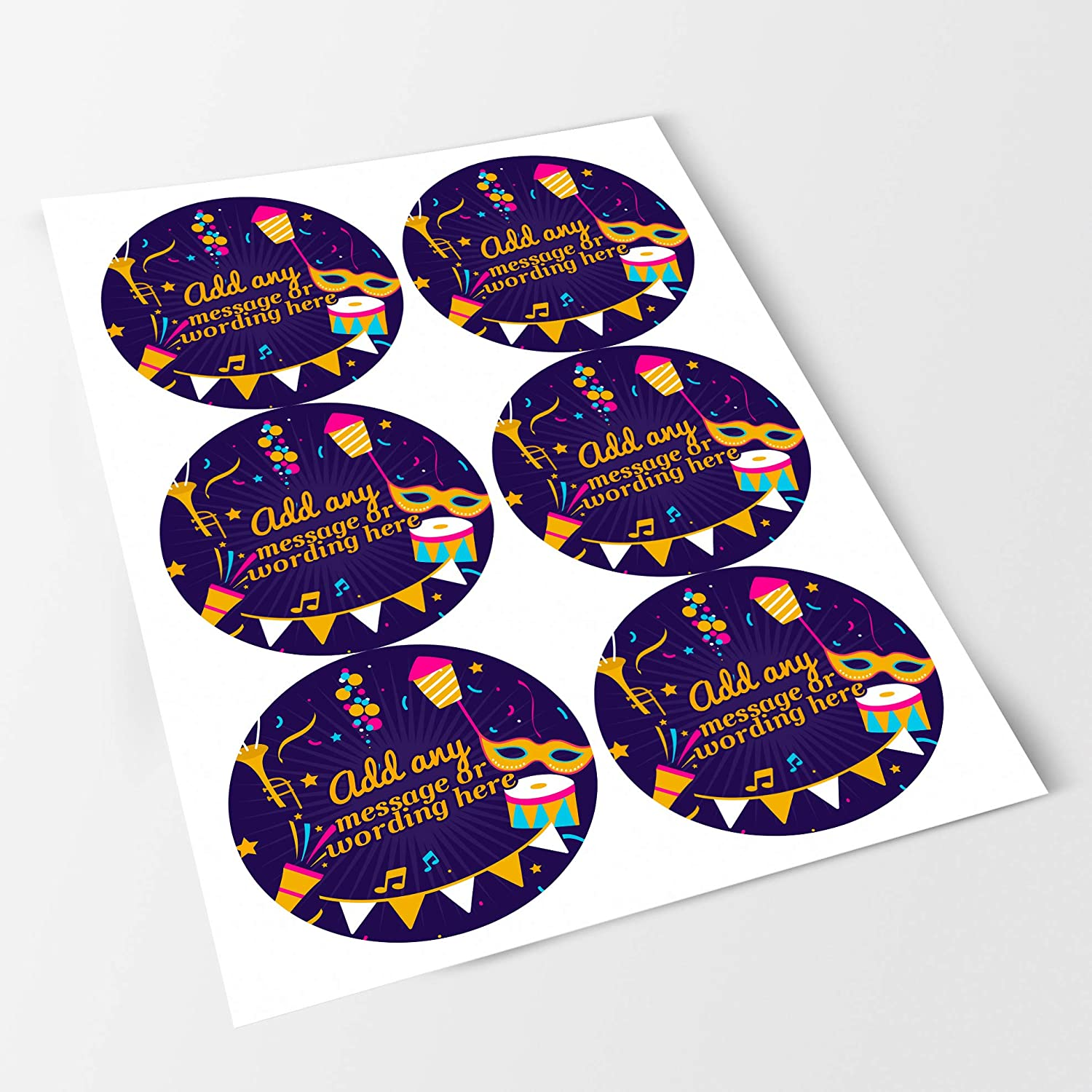 Happy Purim Colourful Sticker Labels 6 Stickers, 9.5cm Each Personalised Custom Seals Ideal for Party Bags Sweet Cones Favours Jars Presentations Gift Boxes Bottles Crafts