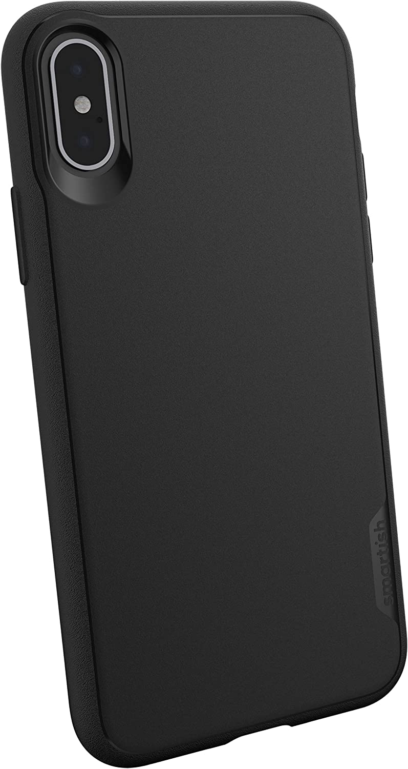 Smartish iPhone Xs/X Slim Case - Kung Fu Grip [Lightweight + Protective] Thin Cover for Apple iPhone 10/10s (Silk) - Black Tie Affair