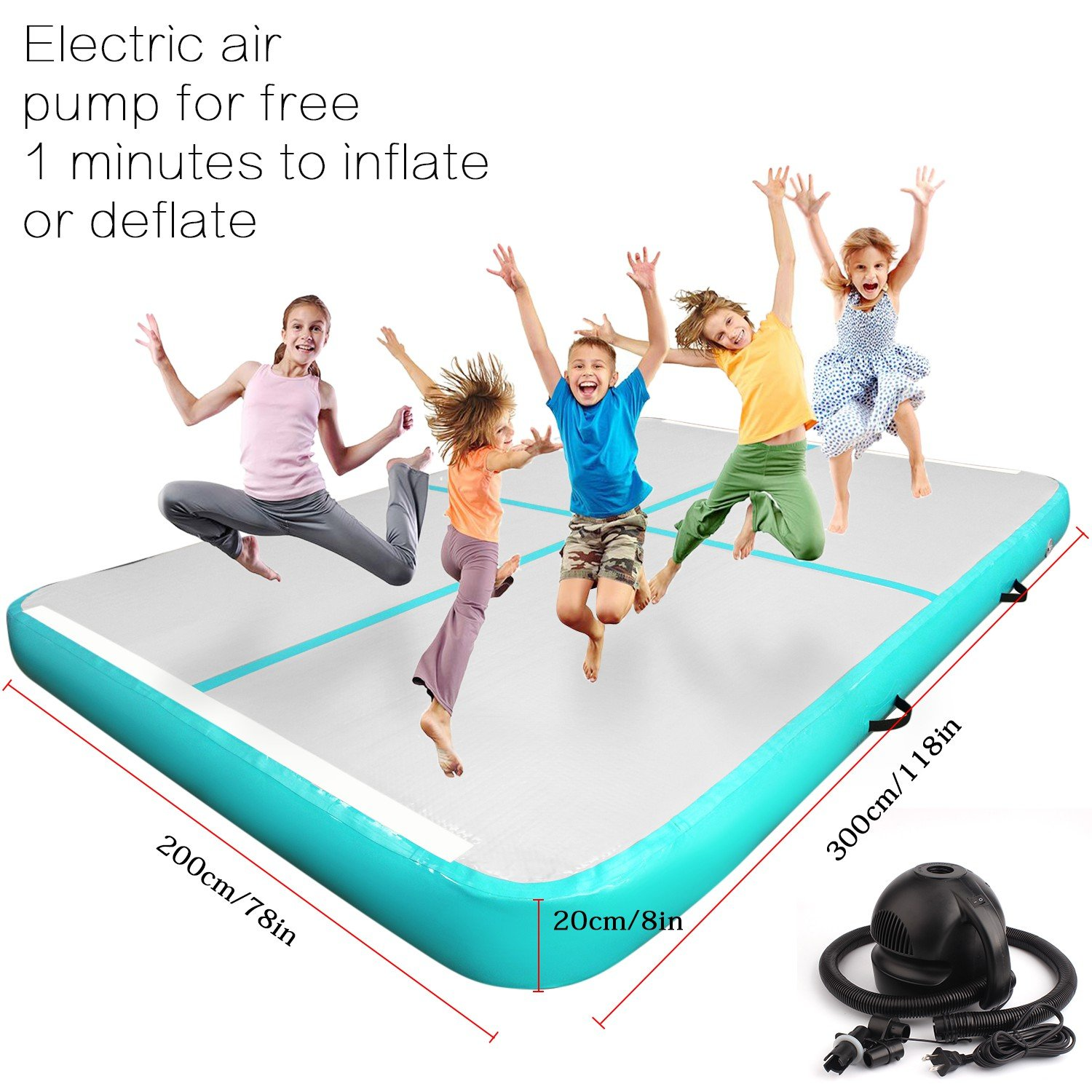 FBSPORT Super Large Airtrack Gymnastic Tumbling Mat Inflatable Air Floor Mat Exercise Mat with Free Electrical Pump for Home Use/Beach/Park/Gym Fitness/Yoga on Water