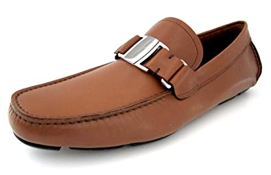 cebf14d3369 Salvatore Ferragamo Sardegna Mens Brown Leather Loafers Shoes Made in Italy  (9.5 E US)