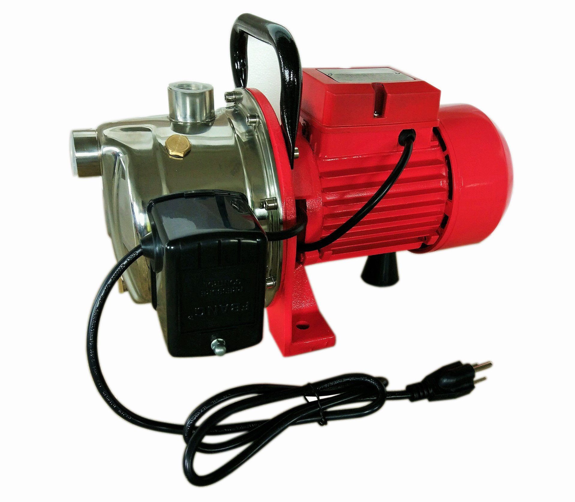 Hallmark Industries MA0438X-8 Jet Pump with Pressure Switch, 14 gpm, Stainless Steel, Self Priming, 3/4 hp, 115/230V, Head 30' In/151' Out