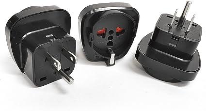 3 Pack Orei GP-95 Schuko European to USA Grounded Plug Adapter