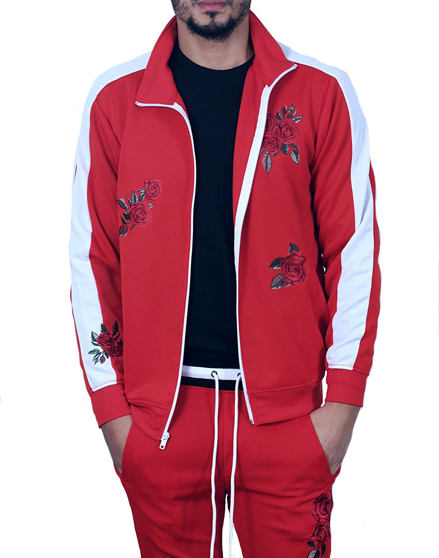 BLEECKER /& MERCER Rose Embroidered Track Jacket Red