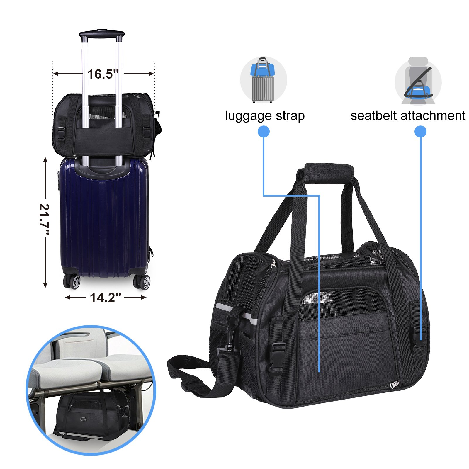 SONGMICS Foldable Pet Carrier, Soft-Sided, for Travel, Airline Approved, Small Dog/Cat Bags with Shoulder Strap, Garbage Bag Included UPDC42BK by SONGMICS (Image #4)