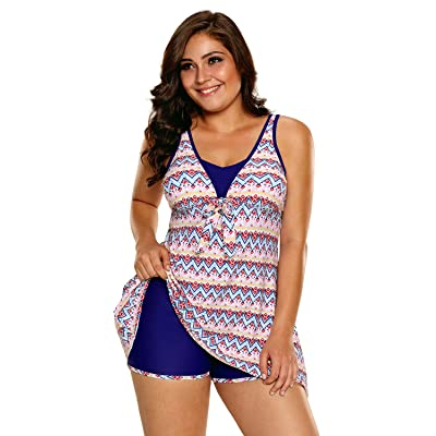 Aleumdr Womens Open Back Printed High-Low Swimdress Tankini Swimsuits with Swim Shorts S - XXXL
