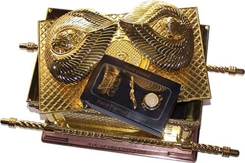 The Ark of The Covenant Gold Plated with Ark Contents Replica Aaron Rod, Tablets and Manna Extra Large