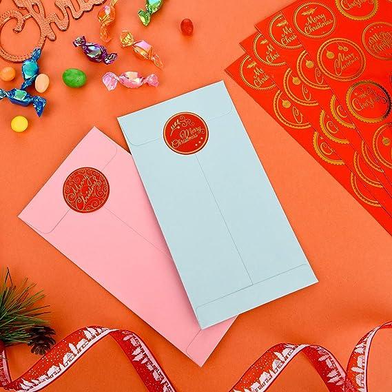 Weihnachts-Aufkleber Schwarz und Gold 500 St/ück Weihnachten Party-Dekoration Weihnachtsanh/änger f/ür Feiertage k/ünstlicher Glitzer